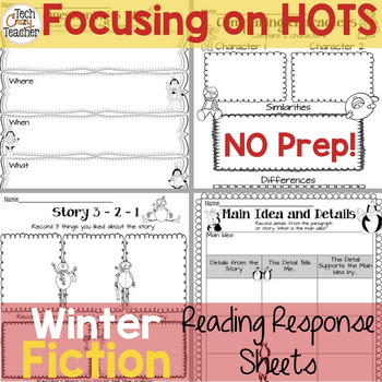 Reading Response Sheets for FICTION (HOTS): Winter Edition No Prep