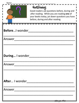 Reading Response Sheets for Reading Stations