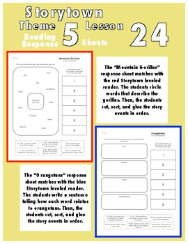 Reading Response Sheets for Storytown Theme 5 Week 24