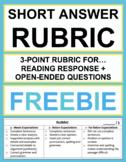Reading Response Short Answer Rubric Freebie