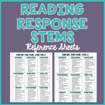 Reading Response Stems & Questions: Reference Sheets