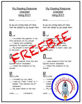 Reading Response Student Checklist, B.O.Y