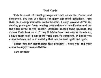 Reading Response Task Cards