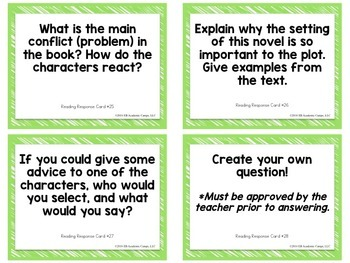 Reading Response Task Cards for Middle & High School