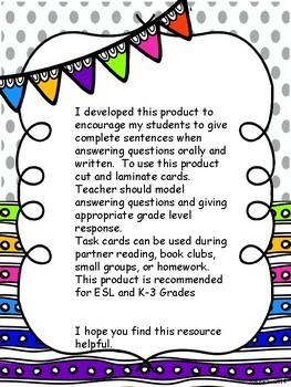 Reading Response Task Cards ( K-3)
