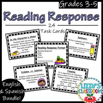 Reading Response Task Cards- English & Spanish Bundle