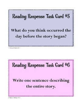 Reading Response Task Cards (Fiction)