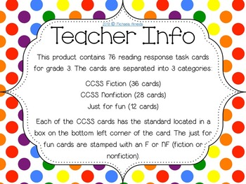 Reading Response Task Cards: Full Year! Grade 3 CCSS Aligned