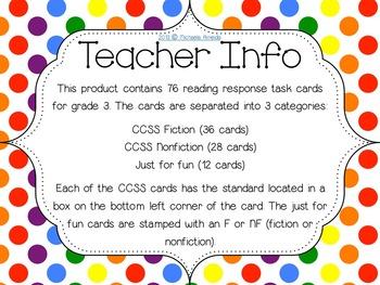 Reading Response Task Cards: Full Year! Grade 3 CCSS Aligned