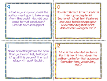 Reading Response Task Cards (NONFICTION) for Middle and High School