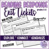 Reading Response Task Cards/Exit Tickets (Reading Skills) ESL/ELA