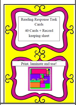 Reading Response Task Cards for any Novel - Higher Order T