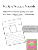 Reading Response Template - Freebie