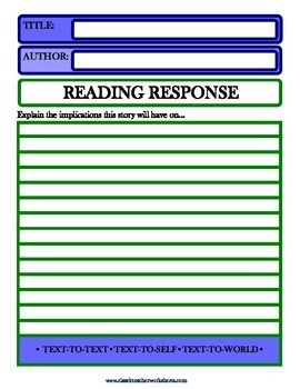 Reading Response - Text-to-Text, Text-to-Self, Text-to-World - Advanced