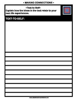 Reading Response - Text-to-Text, Text-to-Self, Text-to-World - Templates