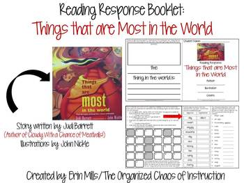 """Reading Response-""""Things that are Most in the World"""" Booklet"""