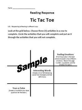Reading Response Tic Tac Toe