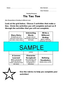 Reading Response Tic Tac Toe #2