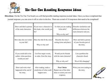 Reading Response Tic-Tac-Toe Board