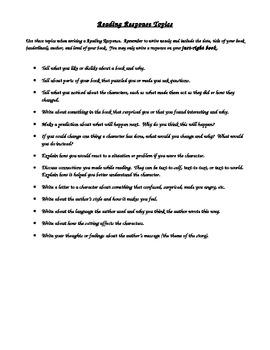 Reading Response Topics