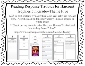 Reading Response Tri-folds for Harcourt Trophies 5th Grade--Theme Five