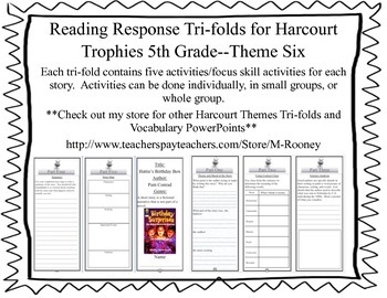 Reading Response Tri-folds for Harcourt Trophies 5th Grade--Theme Six