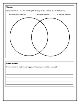 Comprehension Skills ~ Reading Response Weekly Form