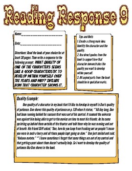 Reading Response: What quality of a character do you want in yourself?