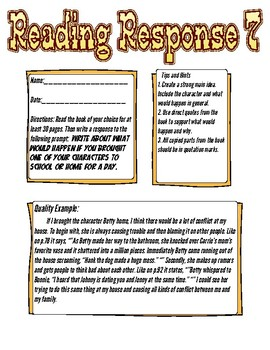Reading Response: What would happen if you brought a character to school?