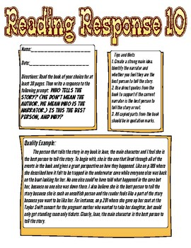 Reading Response: Who is the narrator, and are they the best person for that?