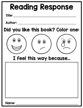 Reading Response Worksheet - Free