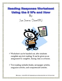 Reading Response Worksheet Using the 5 W's and How