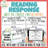 Reading Response Worksheets for Fiction and Non-Fiction Texts Distance Learning