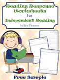 Reading Response Worksheets for Independent Reading FREE SAMPLE