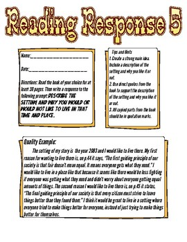 Reading Response: Would you like to live in the setting?