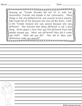 Reading Response Writing Prompts - The Girl Who Thought in Pictures