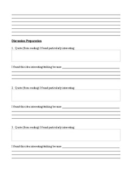 Reading Response and Discussion Prep Form