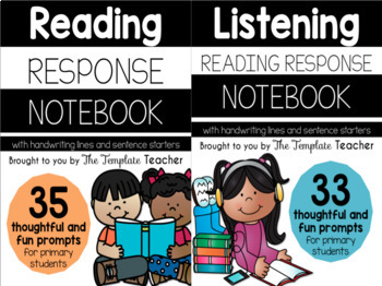 Reading Response and Listening Center Journal Notebook BUNDLE (K-2)