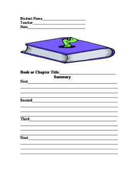 Book Report in Graphic Organizer Format