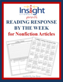 Reading Response by the Week for Nonfiction Articles