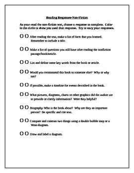 Reading Response for Fiction and Nonfiction