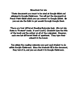 Reading Response for Google Classroom