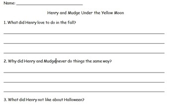 Reading Response for Henry and Mudge Under the Yellow Moon