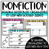 Digital Reading Response Non-Fiction Graphic Organizers | Distance Learning