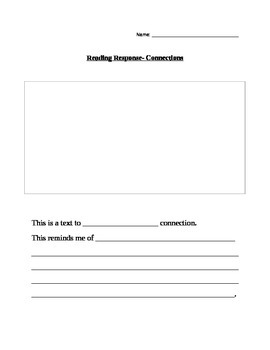 Reading Response forms for Connections Primary Grades