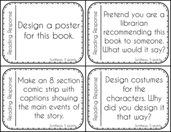 Reading Response questions {Bloom's Taxonomy style   Used with any book!}