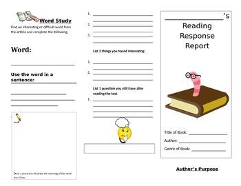 Reading Response tri-fold foldable