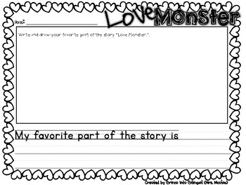 Reading Responses Craft Booklet in English Love Monster