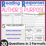 Reading Responses: Author's Purpose