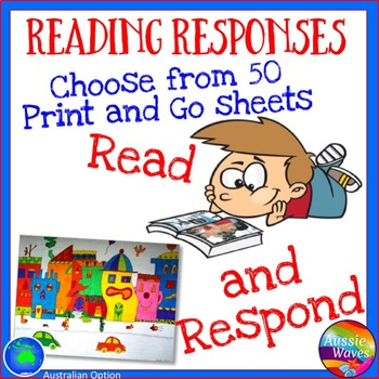 Reading Responses for Books Literacy Activities for Centers Grades 3-6